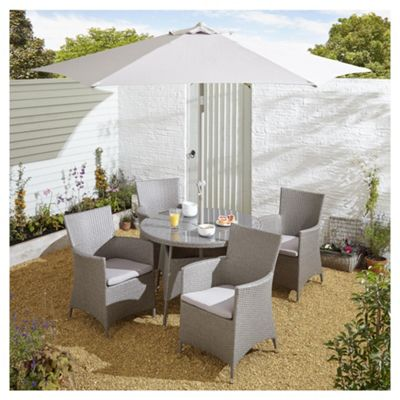 Buy Tesco San Marino 6 Piece Rattan Round Garden Dining Set Grey