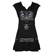 Spiral Black Cat Dress, Viscos, Adult Female, Small, Black - Other
