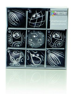Black & Silver Decorated 6cm Bauble Decorations (Set of 9) by Premier