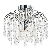 Contemporary Chrome Waterfall Ceiling Light Fitting with Clear Acrylic Droplets