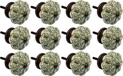 Ceramic Cupboard Drawer Knobs - Vintage Flower Design - Olive Green - Pack Of 12