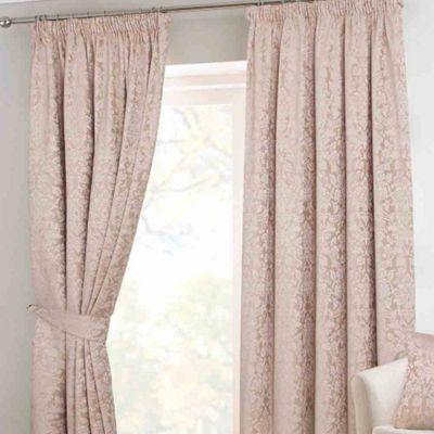 Homescapes Latte Velvet Jacquard Pencil Pleat Lined Curtain Pair, 90 x 90