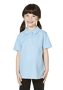 """F&F School 2 Pack of Girls Teflon EcoElite""""™ Polo Shirts with As New Technology - Blue"""
