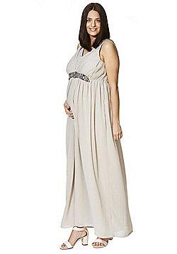 Mamalicious Embellished Chiffon Maternity Maxi Dress - Light grey