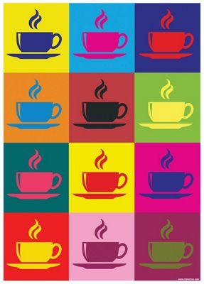 Multicoloured Cuppas Mini Poster 32x44cm,