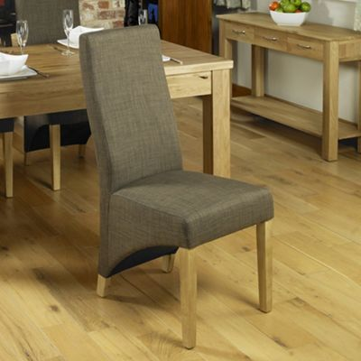 Oak Full Back Upholstered Dining Chair - Hazelnut (Pack of Two) - Baumhaus