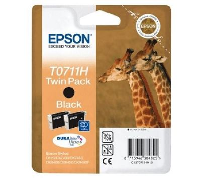 Epson Twinpack Ink cartridge Black T0711H, twin pack T0711H DURABrite Ultra Ink