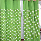 Homescapes Cotton Stars Green Ready Made Eyelet Curtain Pair, 137 x 228 cm Drop
