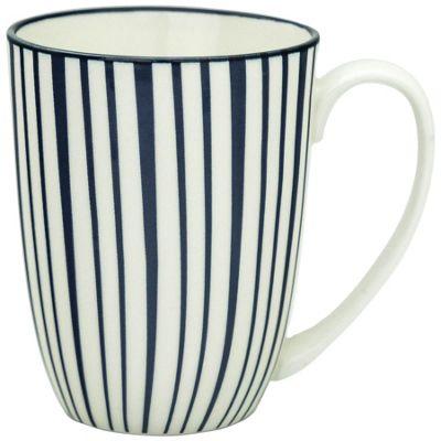 Stripe Design Porcelain Tea Coffee Mug Cups White / Blue 350ml