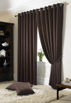 Alan Symonds Madison Chocolate Eyelet Curtains - 90x72 Inches (229x183cm)