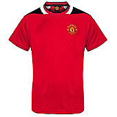 Manchester United FC Mens Poly T-Shirt - Red & Black