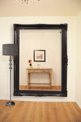 Large Black Very Ornate Shabby Chic Big Wall Mirror New 7Ft X 5Ft (213Cmx152cm)