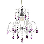 Modern Chandelier Pendant Shade with Purple Acrylic Drops and Clear Frame