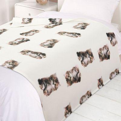 Dreamscene Warm Soft Cat Kitten Fleece Throw Over Bed Blanket 120 x 150cm