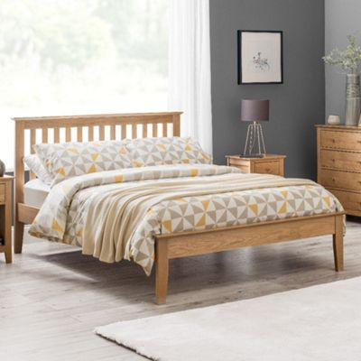 Happy Beds Salerno Wood Low Foot End Bed with Pocket Spring Mattress - Oak - 4ft6 Double