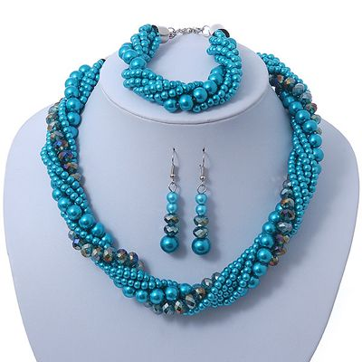 Azure, Metallic Teal Glass Pearl Bead Multi Strand Neckace, Bracelet & Drop Earrings Set In Silver Tone - 34cm Length/ 4cm Extender