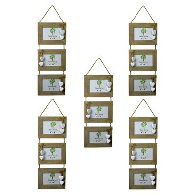 Nicola Spring Triple Wooden 3 Photo Hanging Picture Frame With White Hearts - 6 x 4
