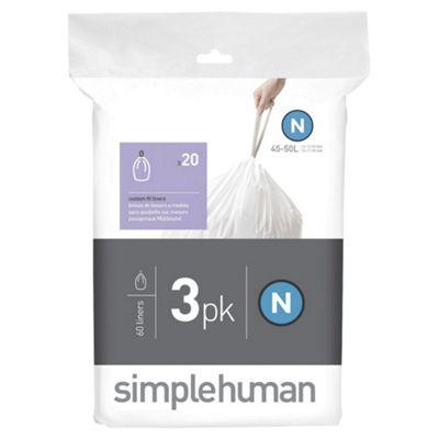 simplehuman custom fit bin liner code N, 3 x pack of 20 (60 liners)