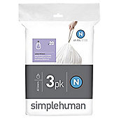 simplehuman custom fit bin liner code N, 3 x pack of 20 (60 liners)