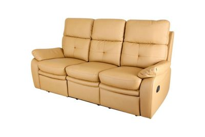 Padstow 3 Seat Recliner Sofa - Camel Brown