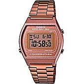Casio Mens Rose Gold Ion-plated Alarm, Day & Date, LED Light Watch B640WC-5AEF