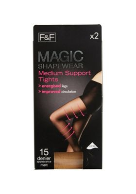 F&F 2 Pack of Magic Shapewear 15 Denier Medium Support Tights with Lycra® S Natural