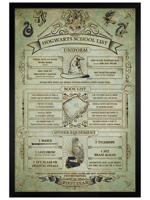 Harry Potter Black Wooden Framed Hogwarts School List Poster 61 x 91.5cm