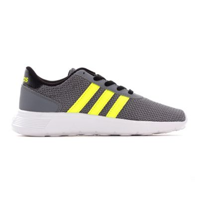adidas NEO Lite Racer Kids Boys Sports Trainer Shoe Grey / Lime - UK 10