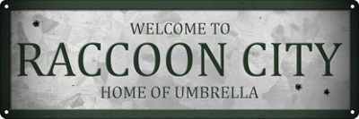 Welcome To Raccoon City Slim Tin Sign 30.5 x 10.1cm