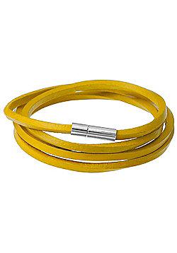 Men's Yellow Leather Cord Wrap Bracelet by Urban Male