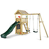 Plum Wooden Lookout Tower with Swings, Slide, Climbing Wall and Sandpit