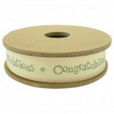 Ribbon Reel - Congratulations - Cream and Grey (Dusky Pink Border)