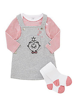Little Miss Princess Long Sleeve Bodysuit, Pinafore Dress and Tights Set - Multi