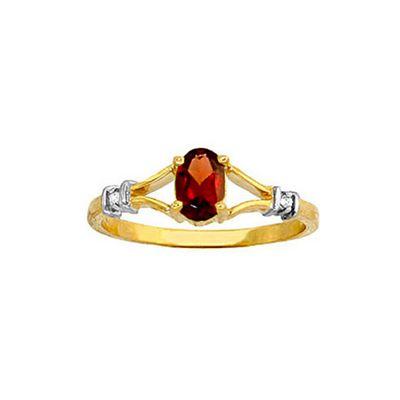 QP Jewellers Diamond & Garnet Aspire Ring in 14K Gold - Size A 1/2