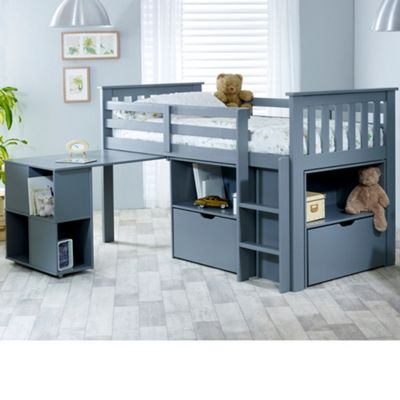 Happy Beds Milo Wood Kids Midsleeper Desk Storage Bed with Orthopaedic Mattress - Grey - 3ft Single