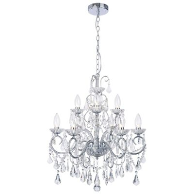 Litecraft Venice 9 Bulb Chandelier Bathroom Ceiling Light, Chrome