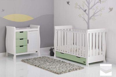 Obaby Stamford Mini Cot Bed 2 Piece + Pocket Sprung Mattress Nursery Room Set - White with Pistachio