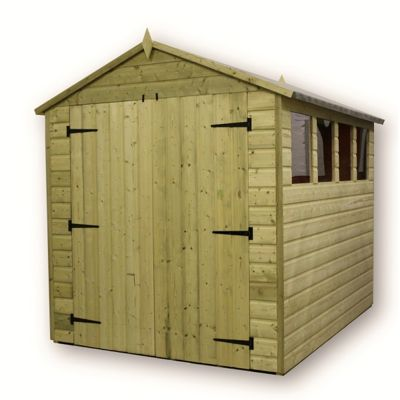 6 x 6 Maldon Premier Pressure Treated T&G Apex Shed + 3 Windows + Higher Eaves & Ridge Height + Double Doors (6ft x 6ft)