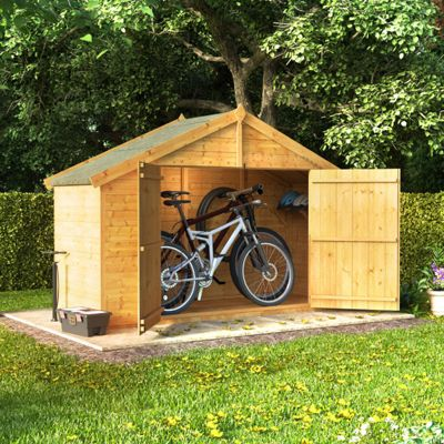 3x8 Tongue and Groove Wooden Apex Bike Storage Double Door Roof Felt Store Shed - 3ftx8ft