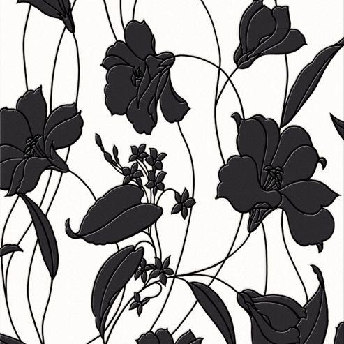 Contour Marylou Floral Kitchen Bathroom Black/White Wallpaper