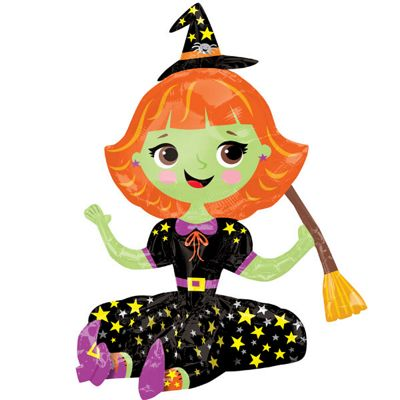 Halloween Sitting Witch Balloon - 40 inch Foil
