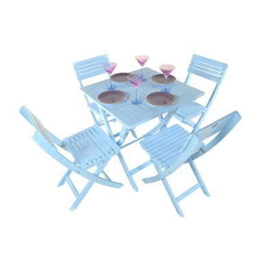 Painted Wooden 4 Seater Square Folding Bistro Set Blue - Outdoor/Garden table and Chair set.