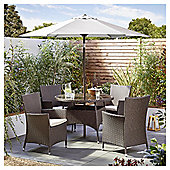 Tesco Corsica 6 Piece Brown Rattan Round Garden Dining Set