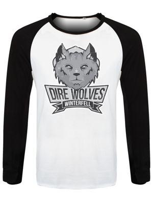 The Dire Wolves Of Winterfell Men's Baseball Shirt Black & White