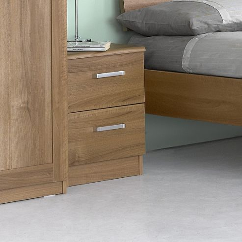 Alto Furniture Visualise Alive 2 Drawer Bedside Table in Natural Aida Walnut