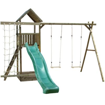 Action Arundel Wooden Children's Climbing Frame with Slide, Swing and Climbing Net
