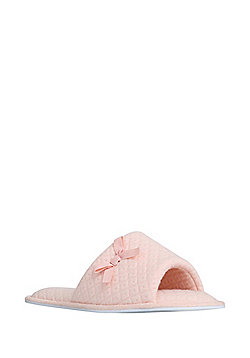 F&F Diamond Quilted Open Toe Mule Slippers - Pink