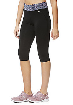 F&F Active Space Dye Waistband Capris - Black & Purple