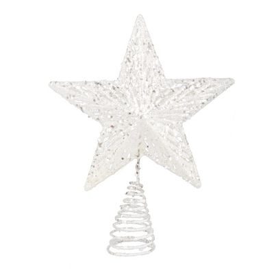 Iridescent White Star Christmas Tree Topper