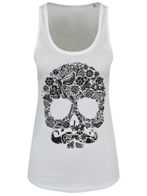 Skull With Moustache Floaty White Women's Vest